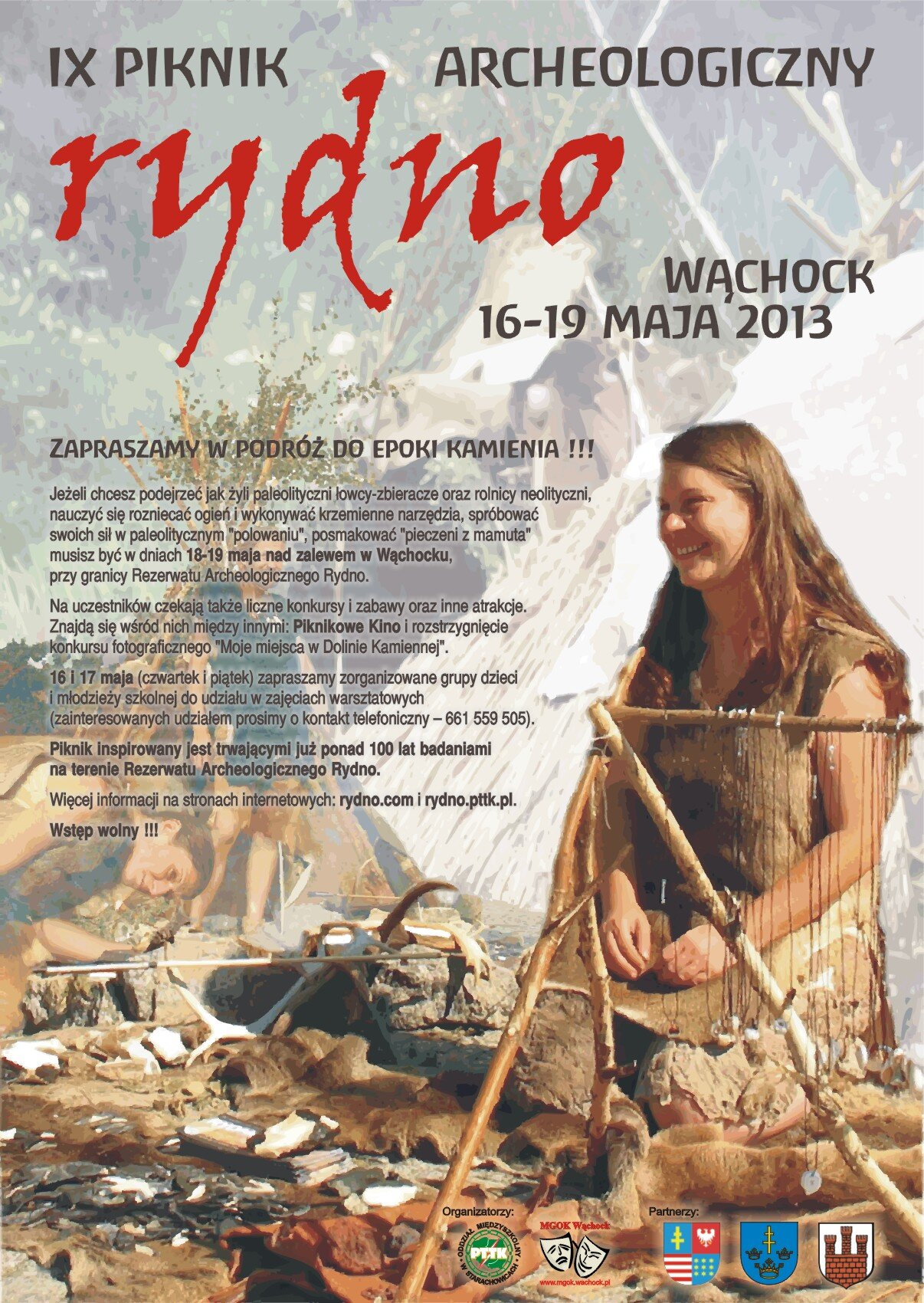 IX Piknik Archeologiczny Rydno - 16-19 maja 2013 w Wąchocku - epoka kamienia na żywo!